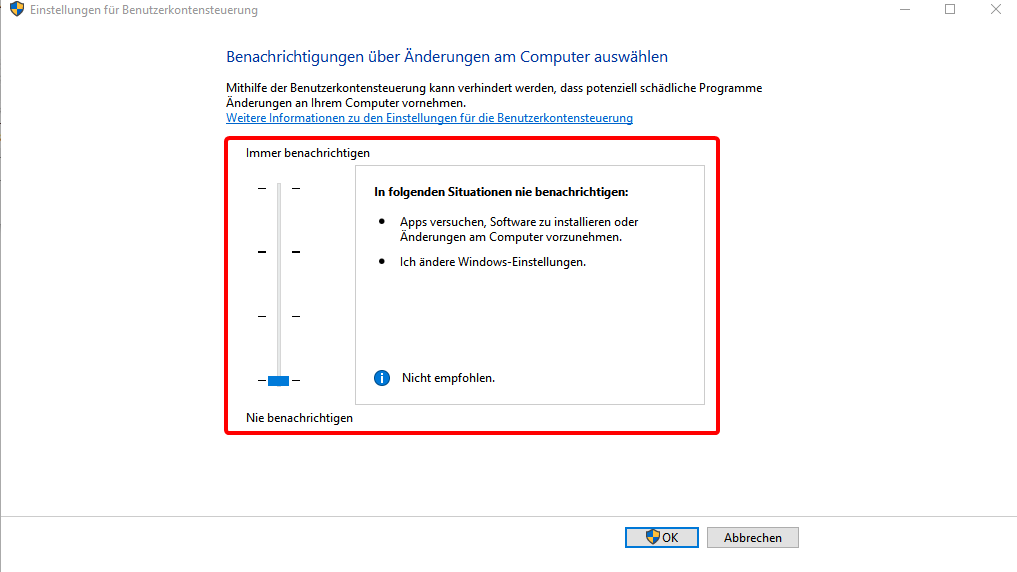 UAC in Windows 10 deaktivieren