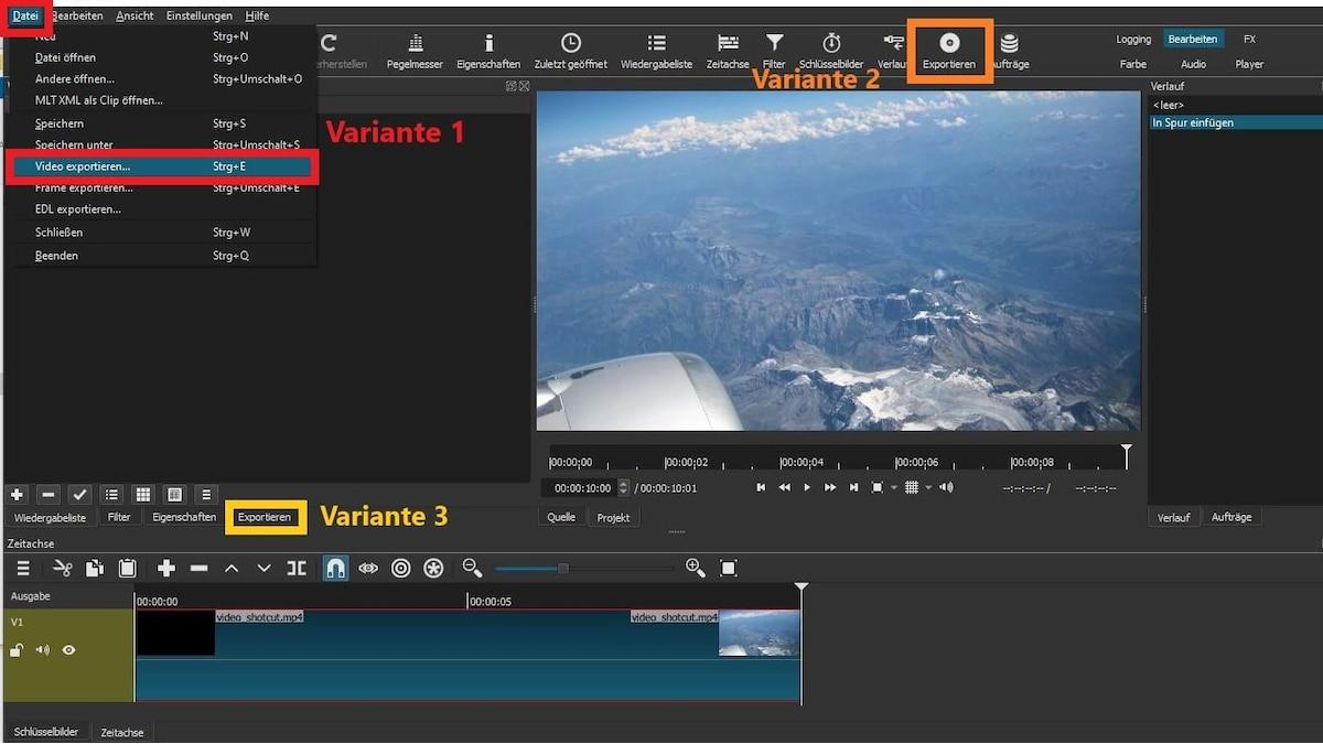 Um ein Video aus Shotcut exportieren zu können, öffnen Sie das Exportfenster. Klicken Sie dazu auf