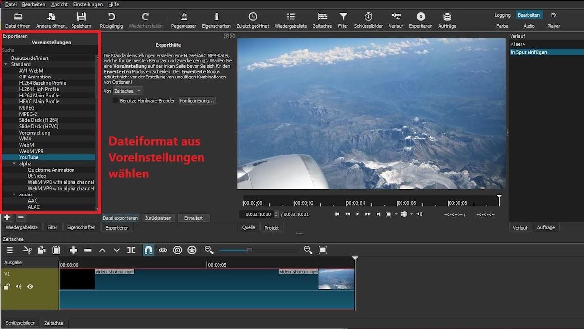 Wählen Sie für Ihr Video ein Exportformat aus den Voreinstellungen aus.