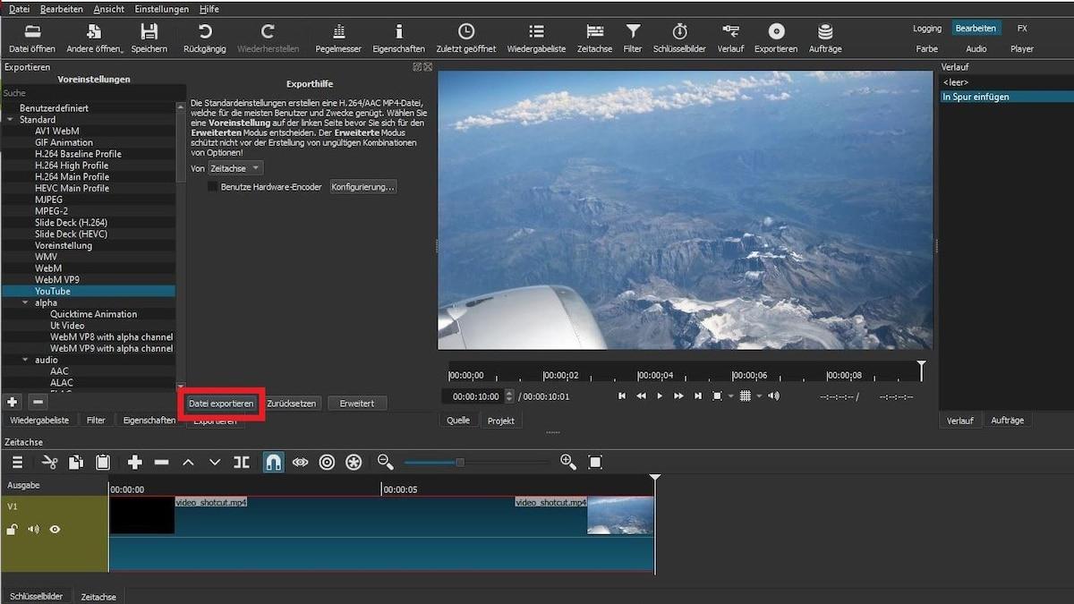 Klicken Sie zum Exportieren Ihres Videos auf