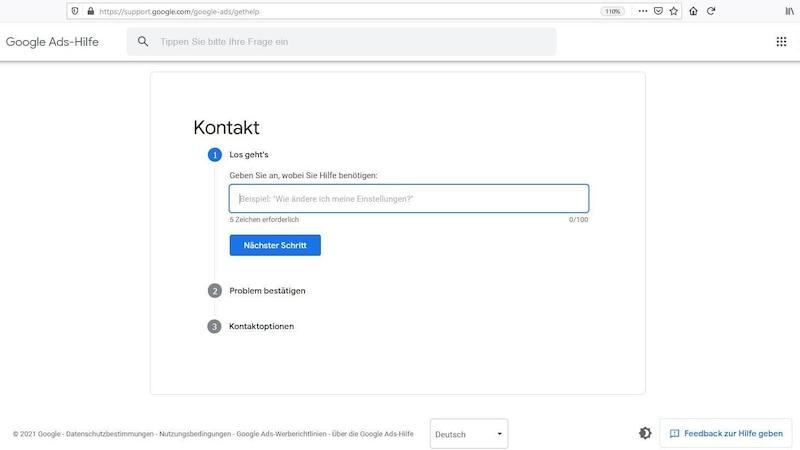 Google Ads: Als Stammkunde erreichen Sie den Support über das Kontaktformular.