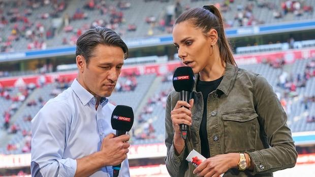 Sedlaczek ist ohne Schuhe bereits stolze 1,83 Meter groß, weswegen sie bei Interviews (hier mit Niko Kovac) auch mal nach unten fragen muss.