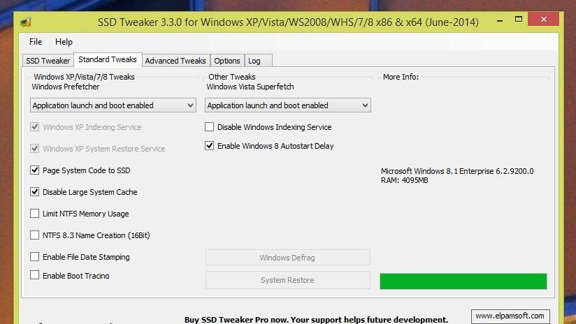 SSD-Tweaker stellt System ein