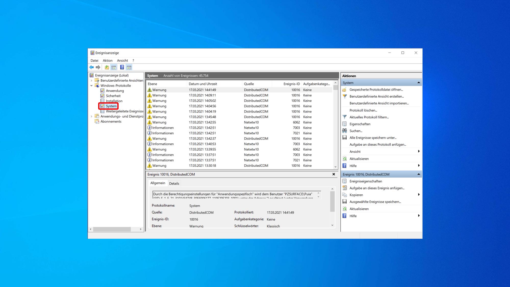 Ihren Computer können Sie unter anderem mit der Windows Ereignisanzeige überwachen.