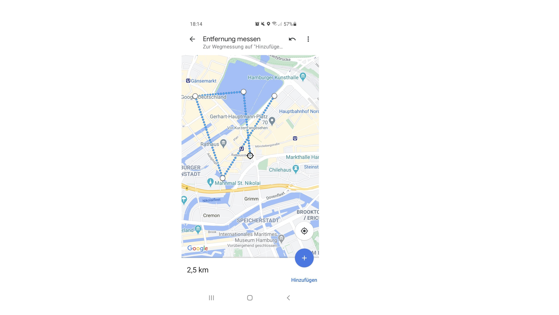 Entfernungen in der Google Maps App messen