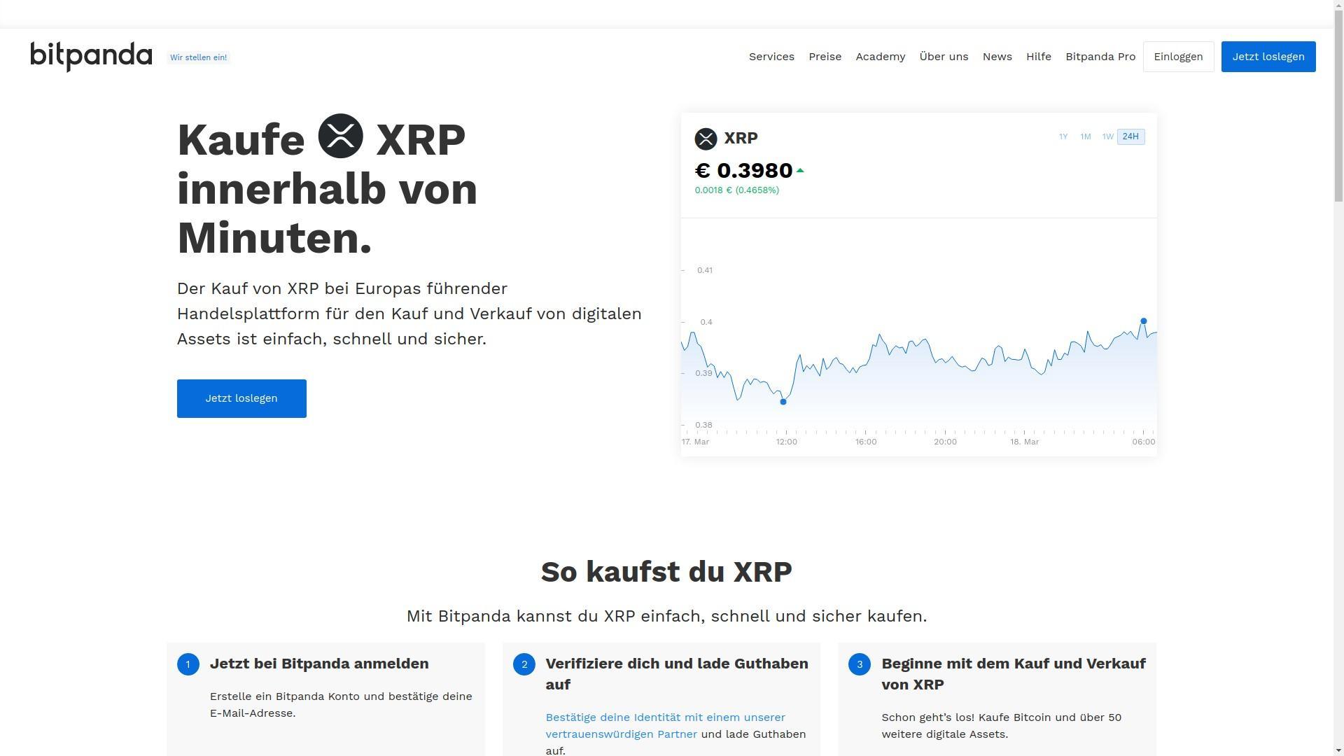 Um die Kryptowährung Ripple zu kaufen, können Sie beispielsweise die Seite Bitpanda nutzen
