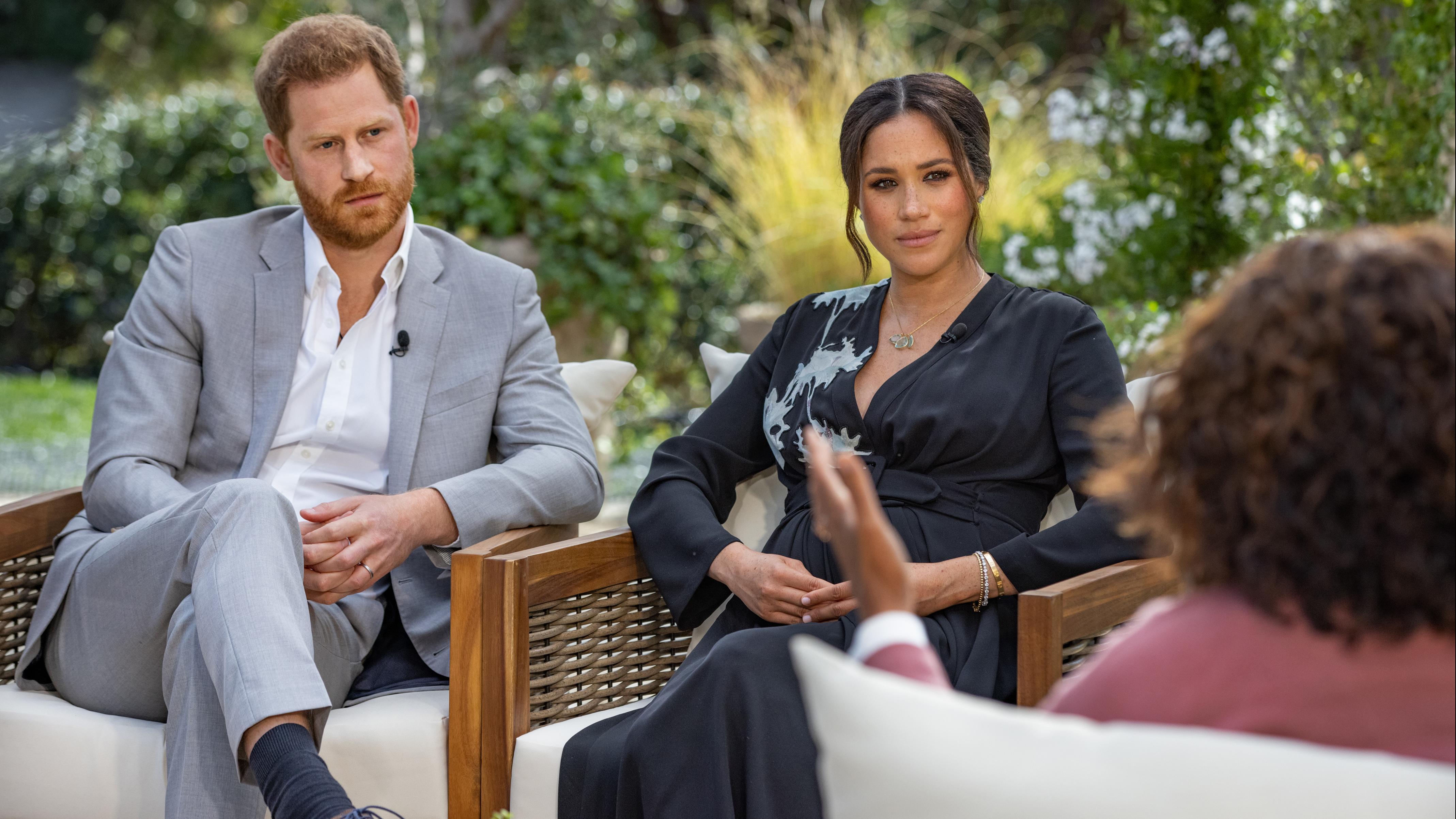 Prinz Harry von Großbritannien und seiner Ehefrau Herzogin Meghan beim TV-Interview mit US-Moderatorin Oprah Winfrey