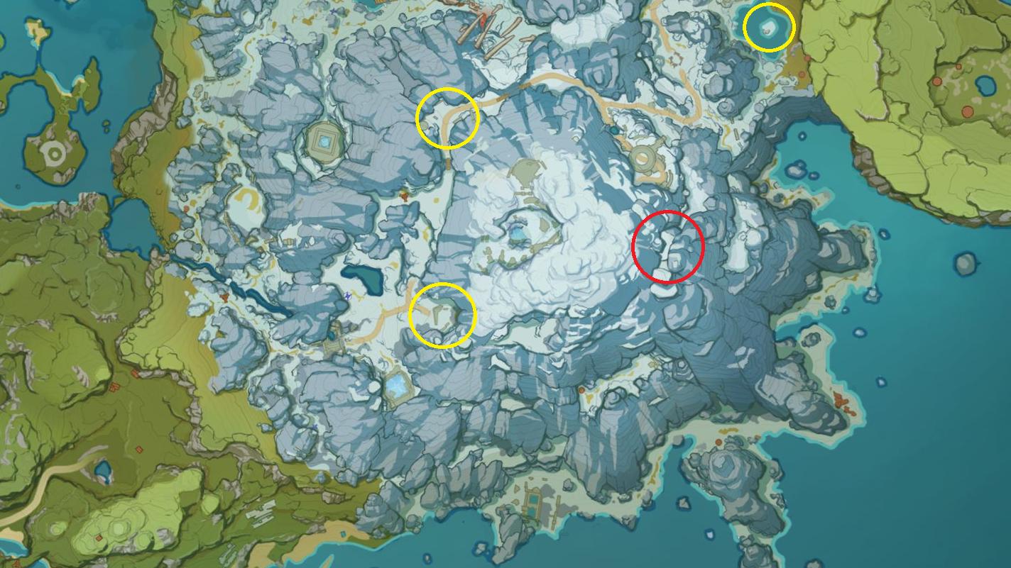 Die Schmuckkästchen in Genshin Impact sind in gelb, das verschlossene Tor in rot auf der Karte markiert.