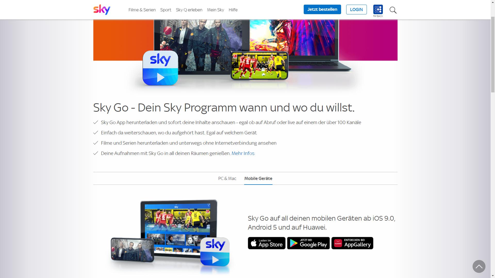 Mit Sky Go können Sie auch unterwegs Ihre Sky Inhalte konsumieren.