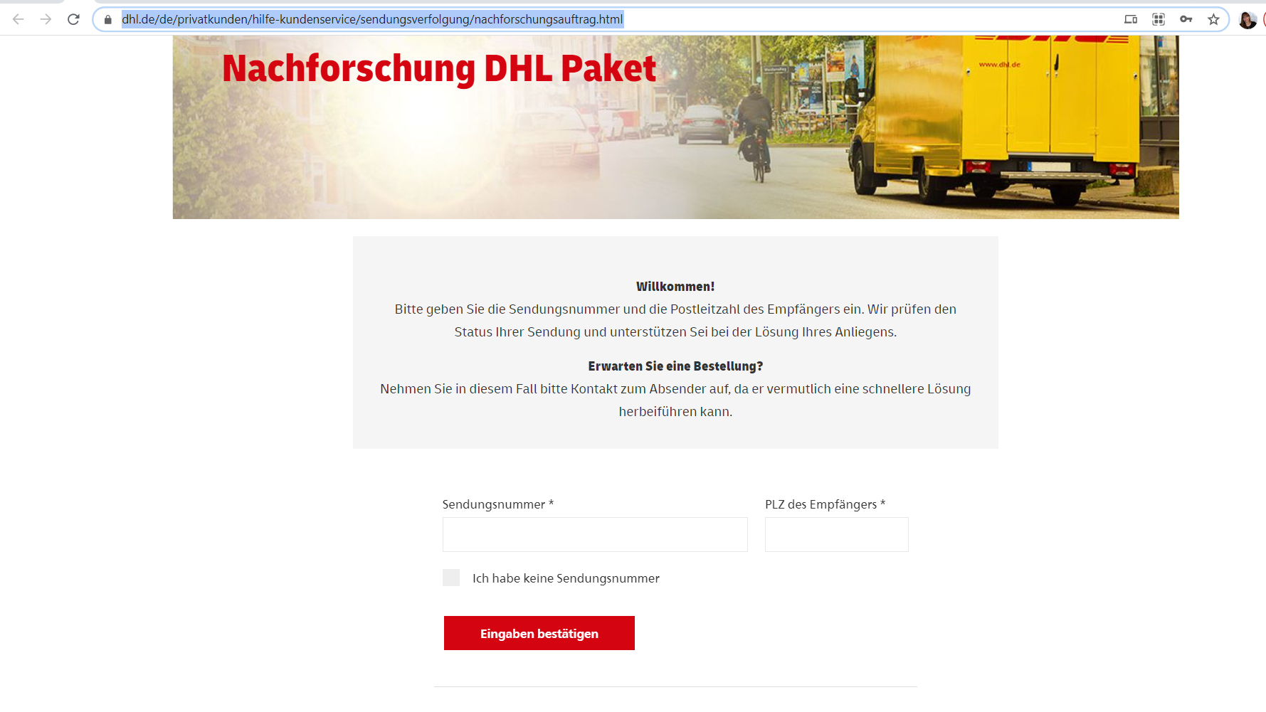 DHL-Nachforschungsauftrag international aufgeben