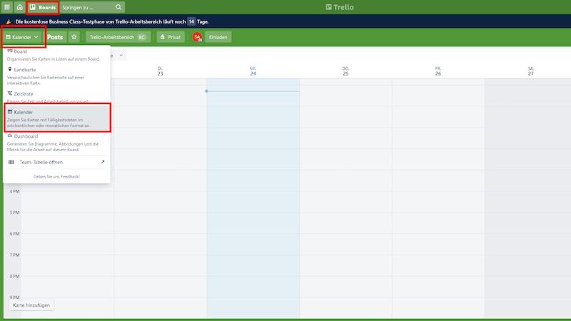 Der Kalender in Trello ist eine nützliche Funktion, um Termine im Auge zu behalten.