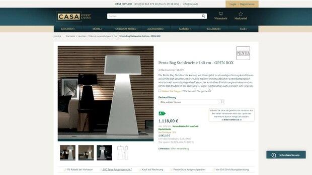 Auch im gehobenen Segment können Käufer mit Open Box-Produkten sparen. Diese Leuchte verkauft Casa als Open Box rund 30 Prozent günstiger.
