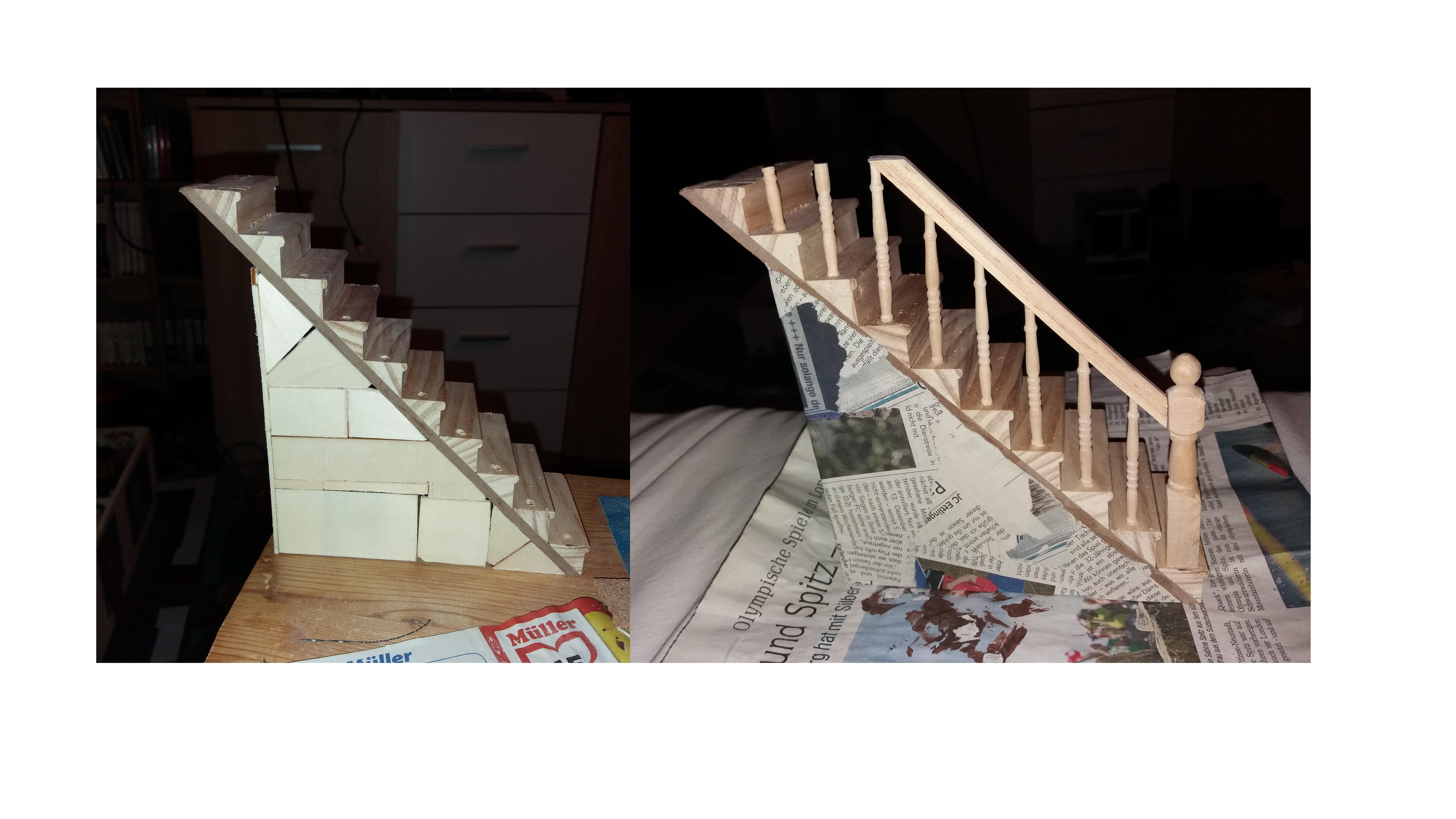 Puppenhaustreppe selber bauen - kombinieren Sie verschiedene Materialien.