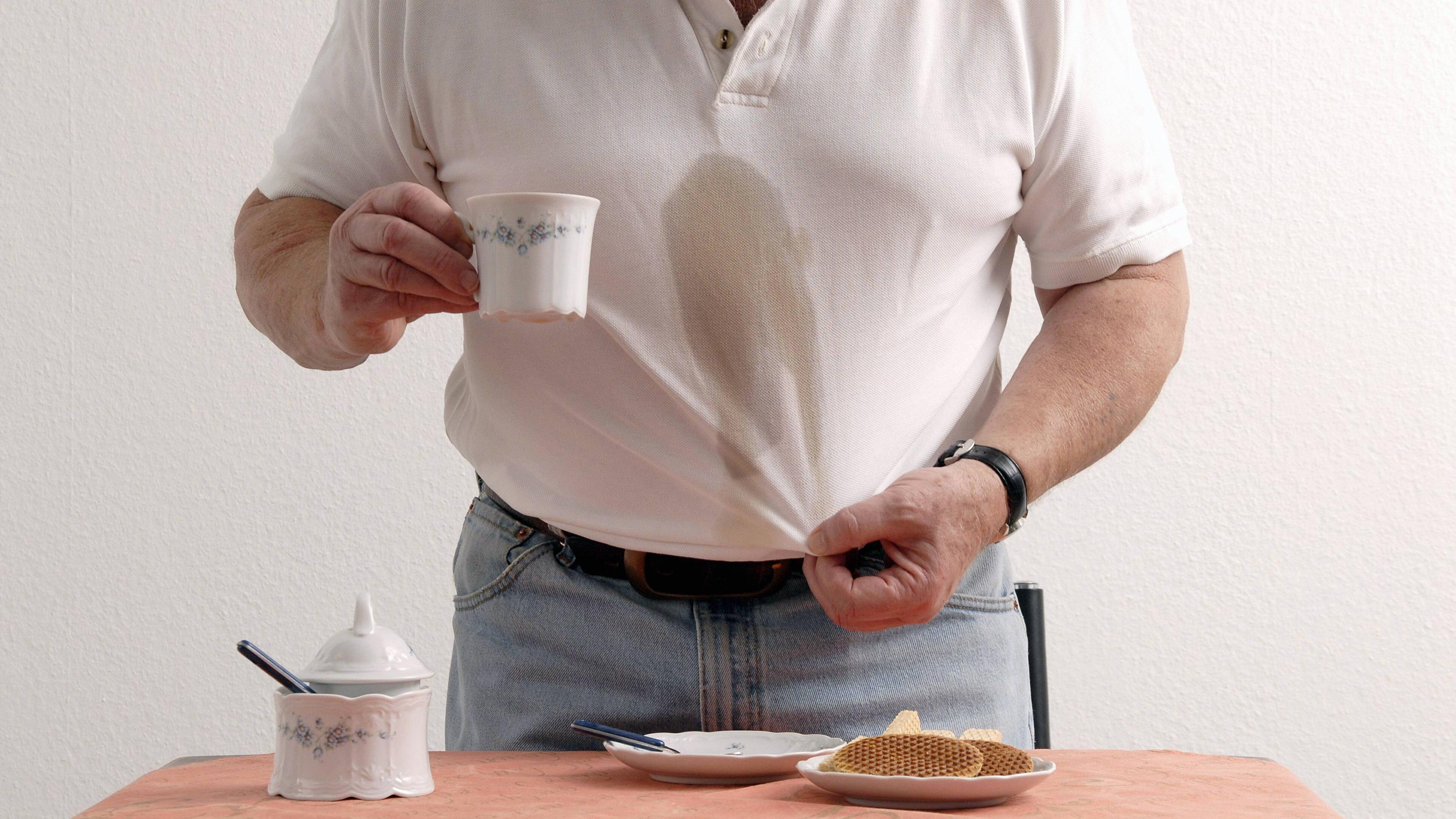 Kaffeeflecken lassen sich ganz leicht entfernen.