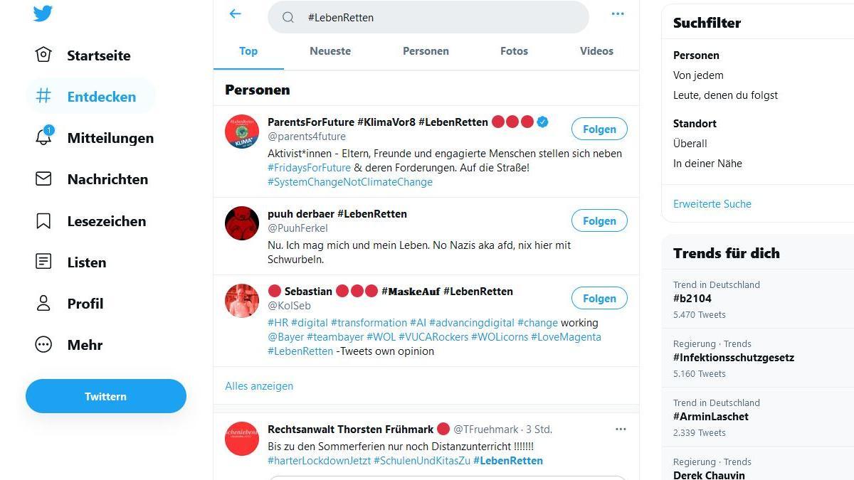 Rote Punkte auf Twitter symbolisieren die Forderung nach einem harten Corona-Lockdown.