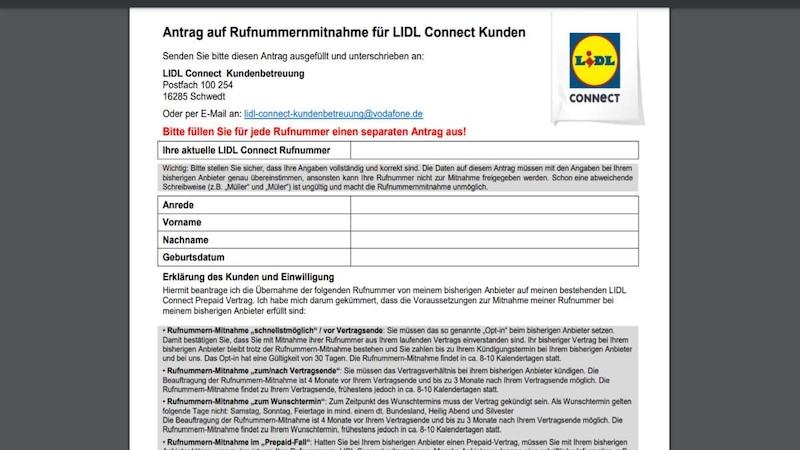 Antrag Lidl Connect Rufnummermitnahme