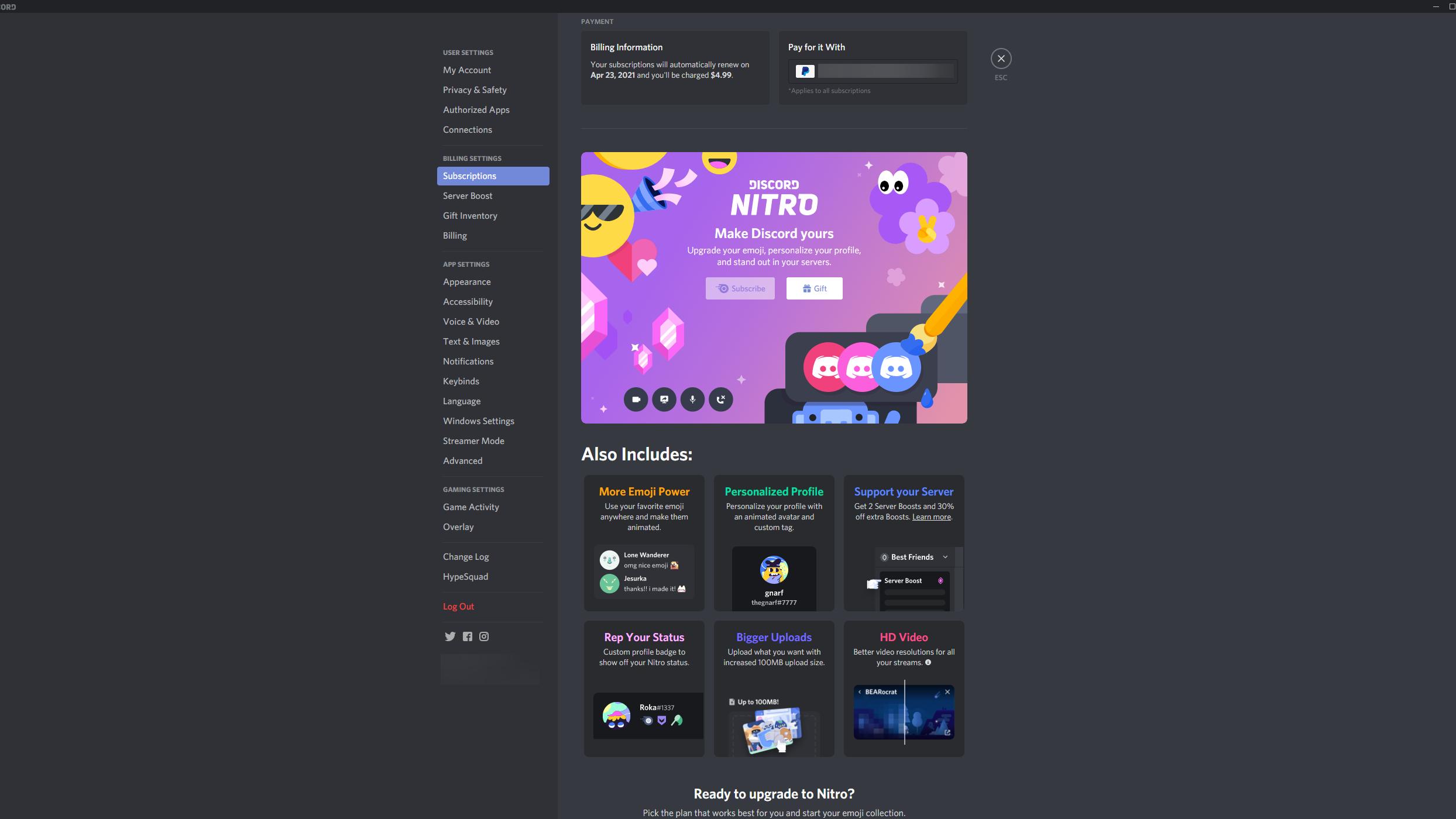 Discord Nitro buchen Sie über den Reiter Subscriptions, den Sie in Ihren Nutzereinstellungen finden.