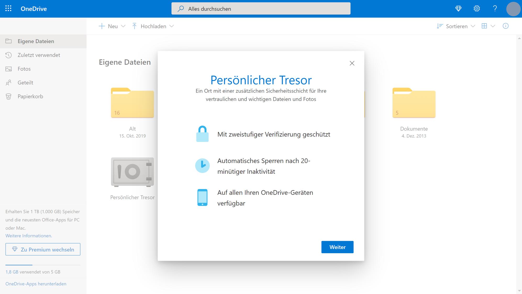 Mit dem persönlichen Tresor verschlüsseln Sie Ihre Dateien bei OneDrive zusätzlich