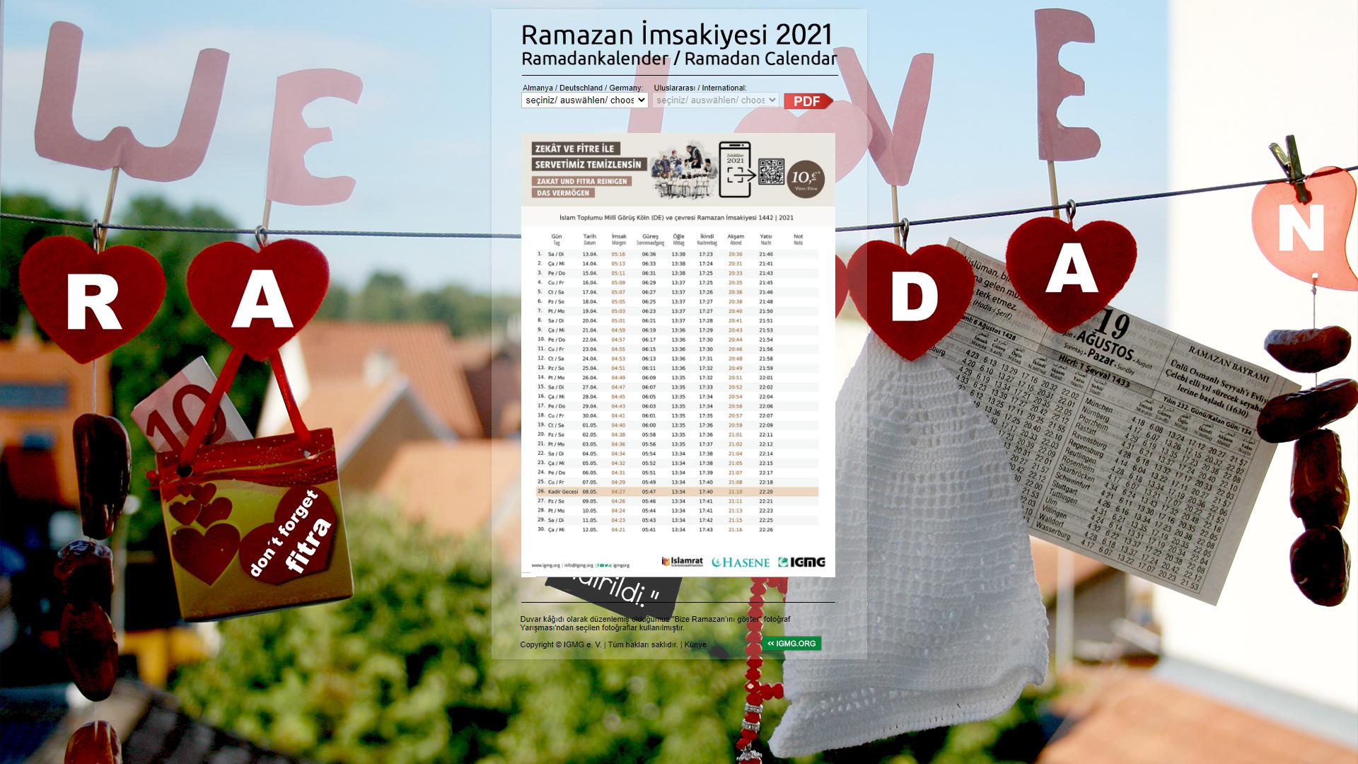 Ein Online-Kalender im Ramadan bietet eine gute Übersicht für geltenden Zeiten.