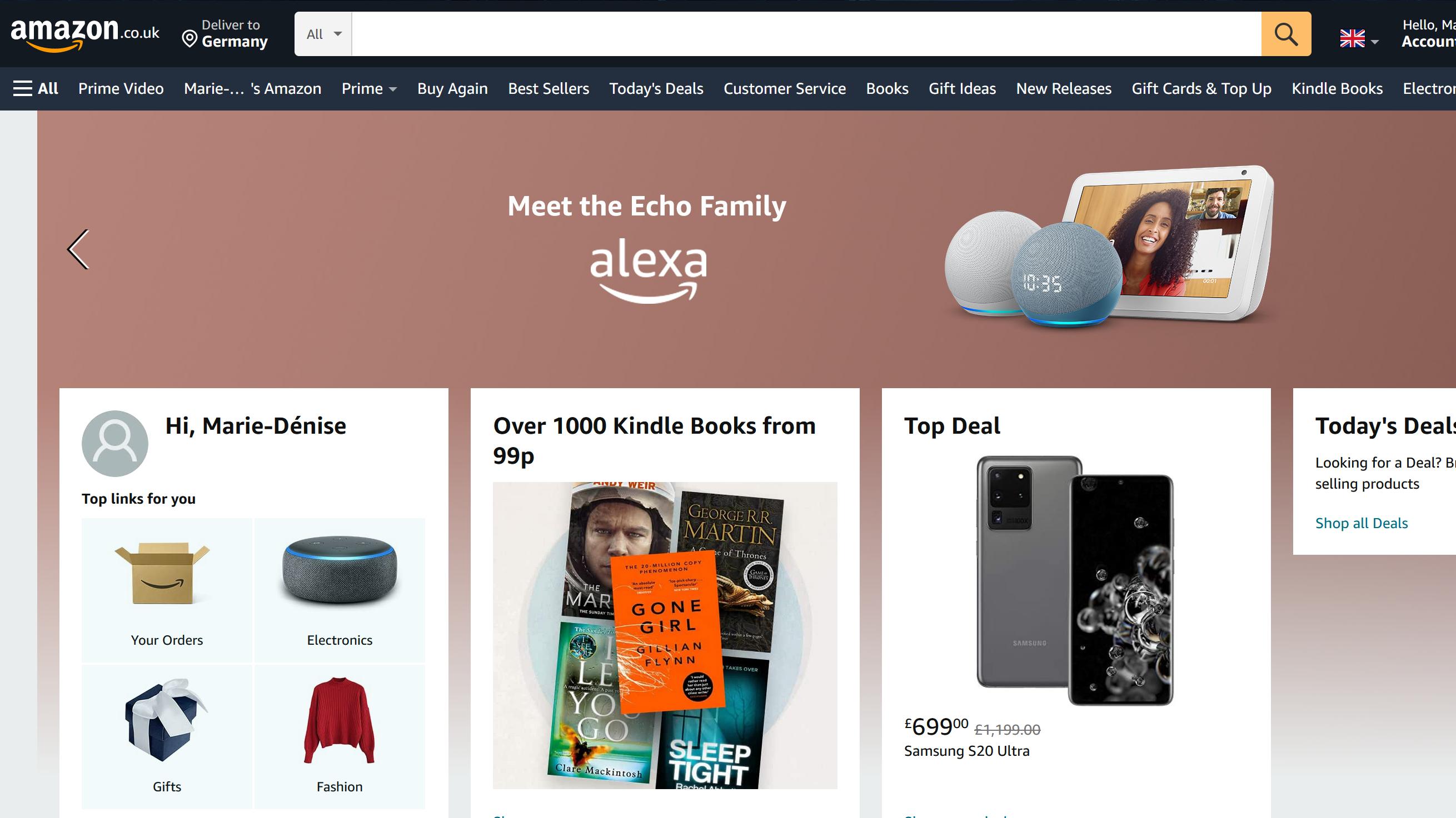 Bei Amazon.co.uk lassen sich Produkte mit dem deutschen Konto bestellen