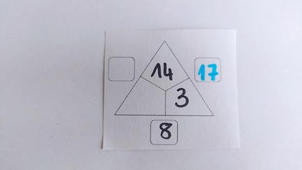Dabei ergeben die beiden innenliegenden Zahlen einer Seite die Außensumme. Damit wird in diesem Beispiel gestartet. 14+3=17.