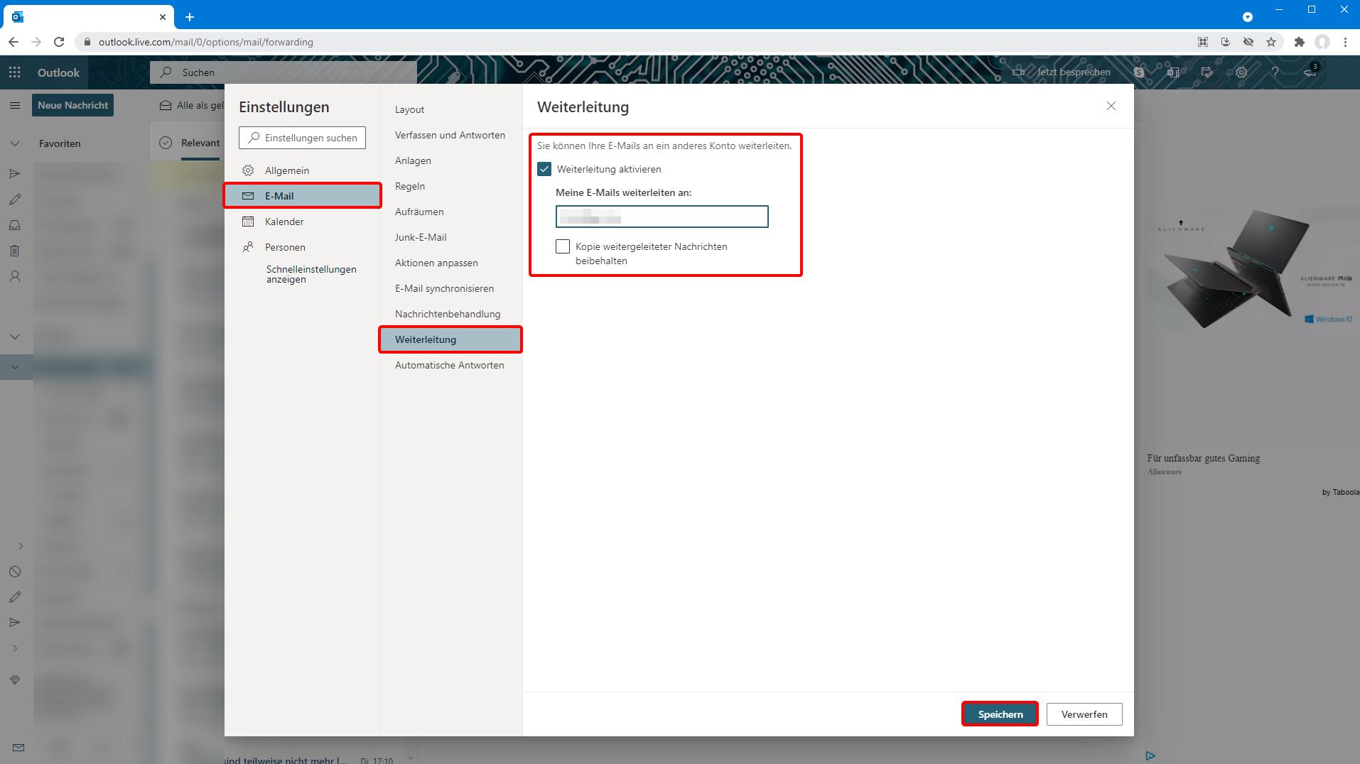 Weiterleitung in Outlook.com einrichten
