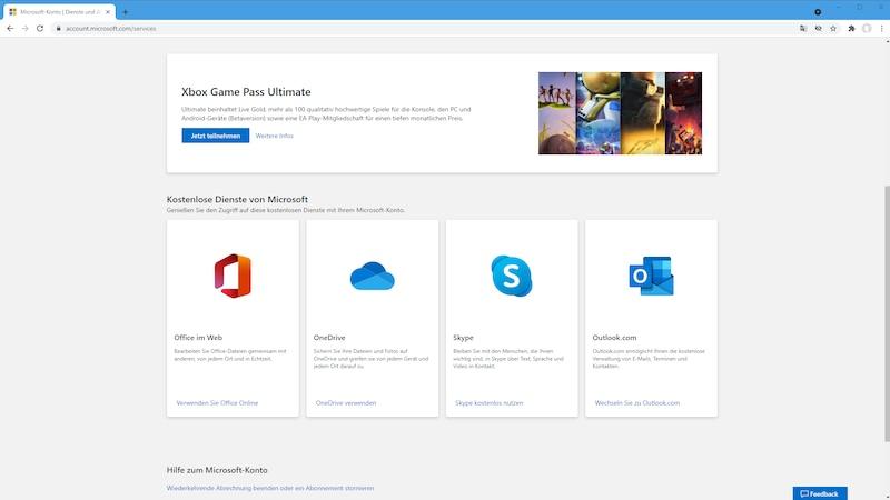 Kostenlose Dienste im Microsoft-Konto