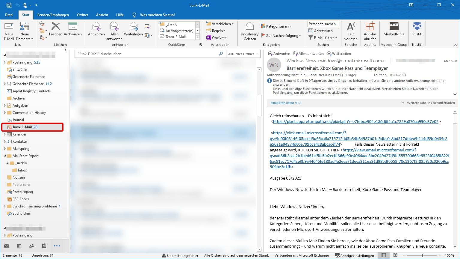 Outlook zeigt neue Mails nicht - Spam-Ordner prüfen