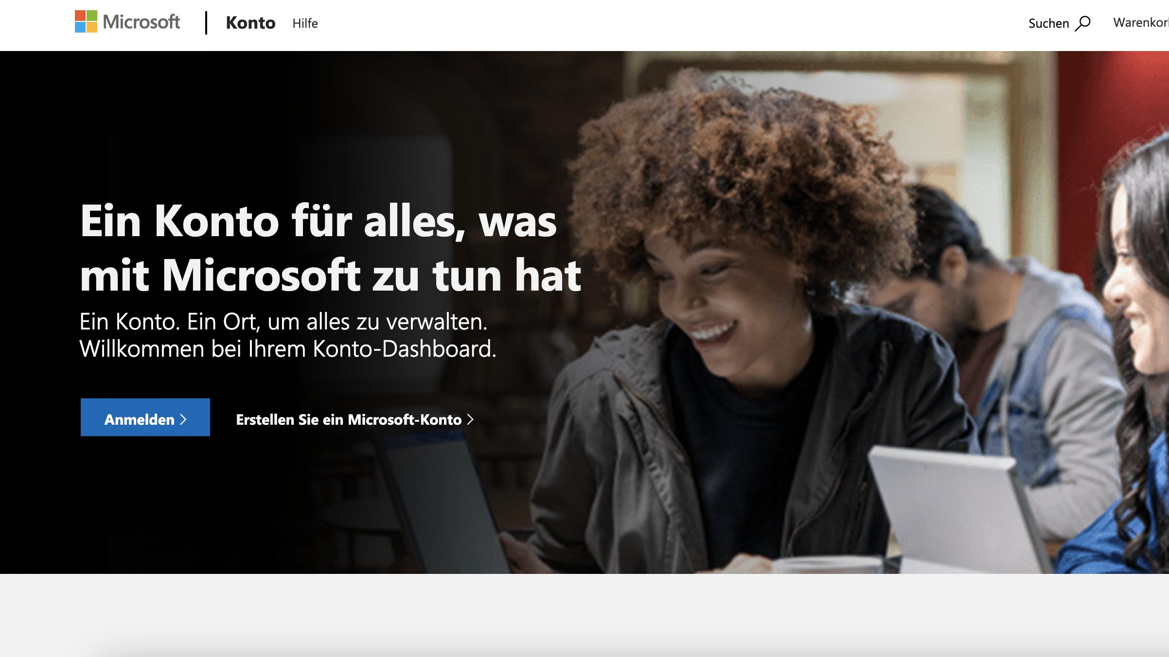 Kostenloses Microsoft-Konto erstellen