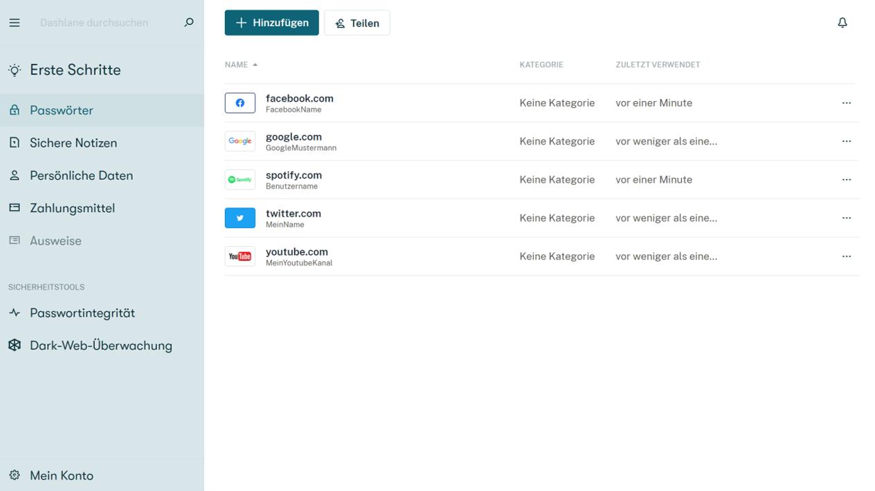 Dashlane überzeugt ebenfalls mit einer modernen und übersichtlichen Benutzeroberfläche sowie mit zahlreichen Funktionen.