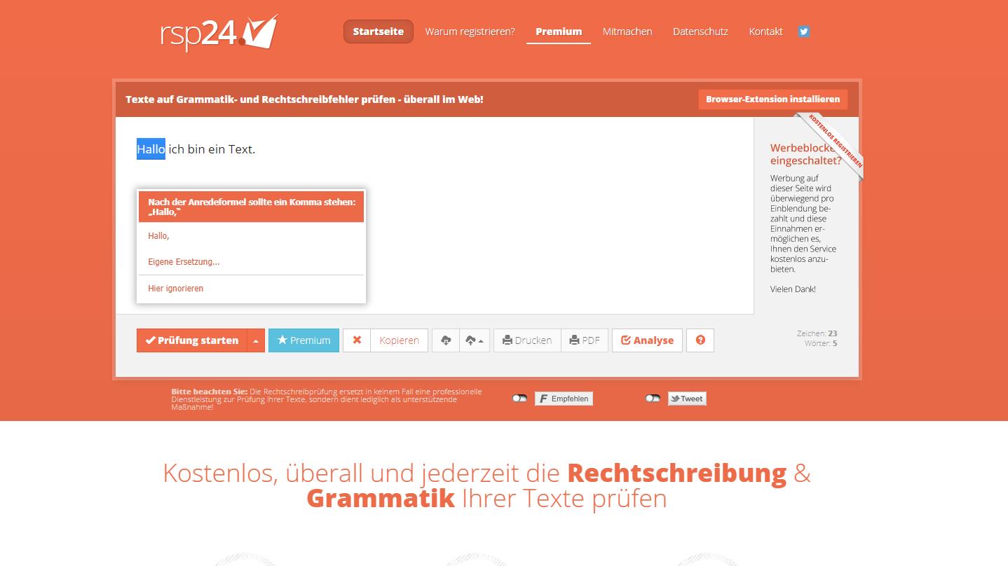Mit rechtschreibpruefung24.de können Sie die Kommasetzung überprüfen lassen.
