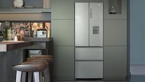 French-Door-Kühlschränke zeichnen sich durch eine Doppeltür für das Kühlabteil sowie darunterliegende Gefrierschubladen aus.