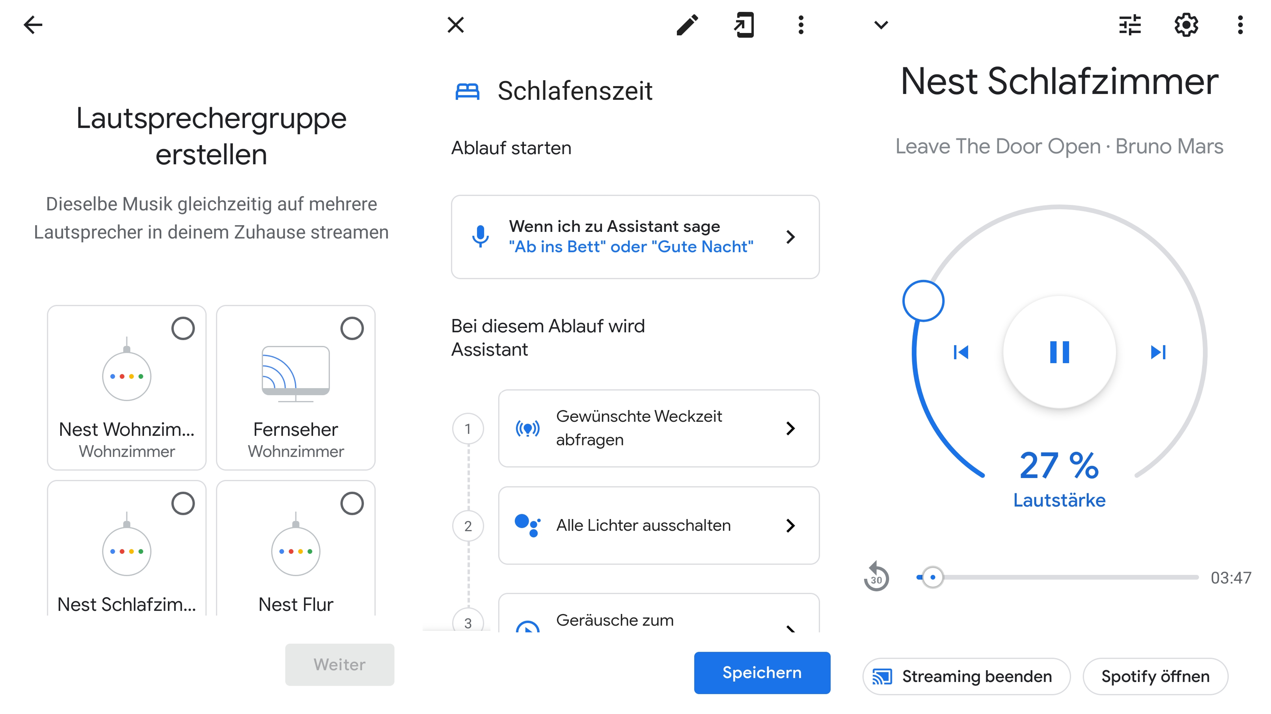 Mit der Google Home App können Sie Funktionen wie Routinen und Lautsprechergruppen für Ihre Nest Geräte erstellen.