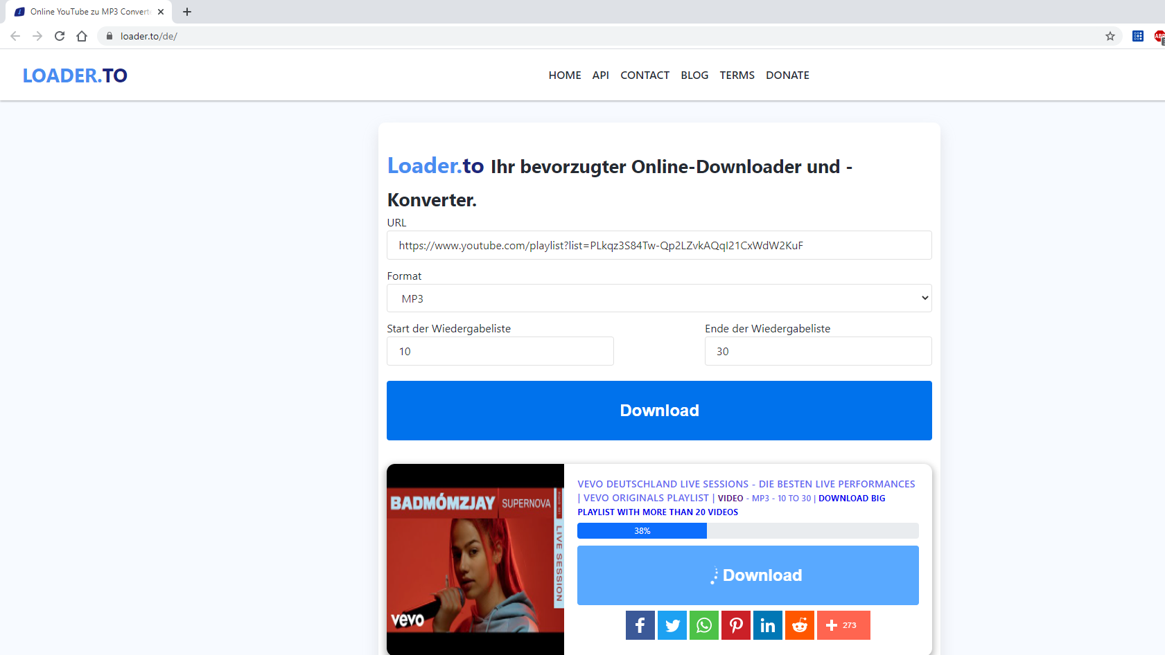 Eine YouTube-Playlist können Sie mit Loader.to auch im Browser downloaden.
