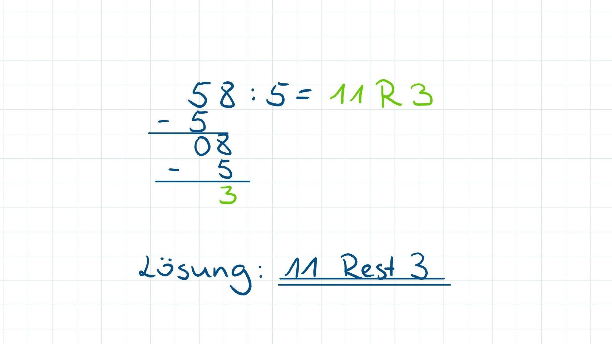 Beispielaufgabe für schriftliches Dividieren mit Rest.