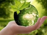 Grüne Erde wird von einer Hand gehalten.