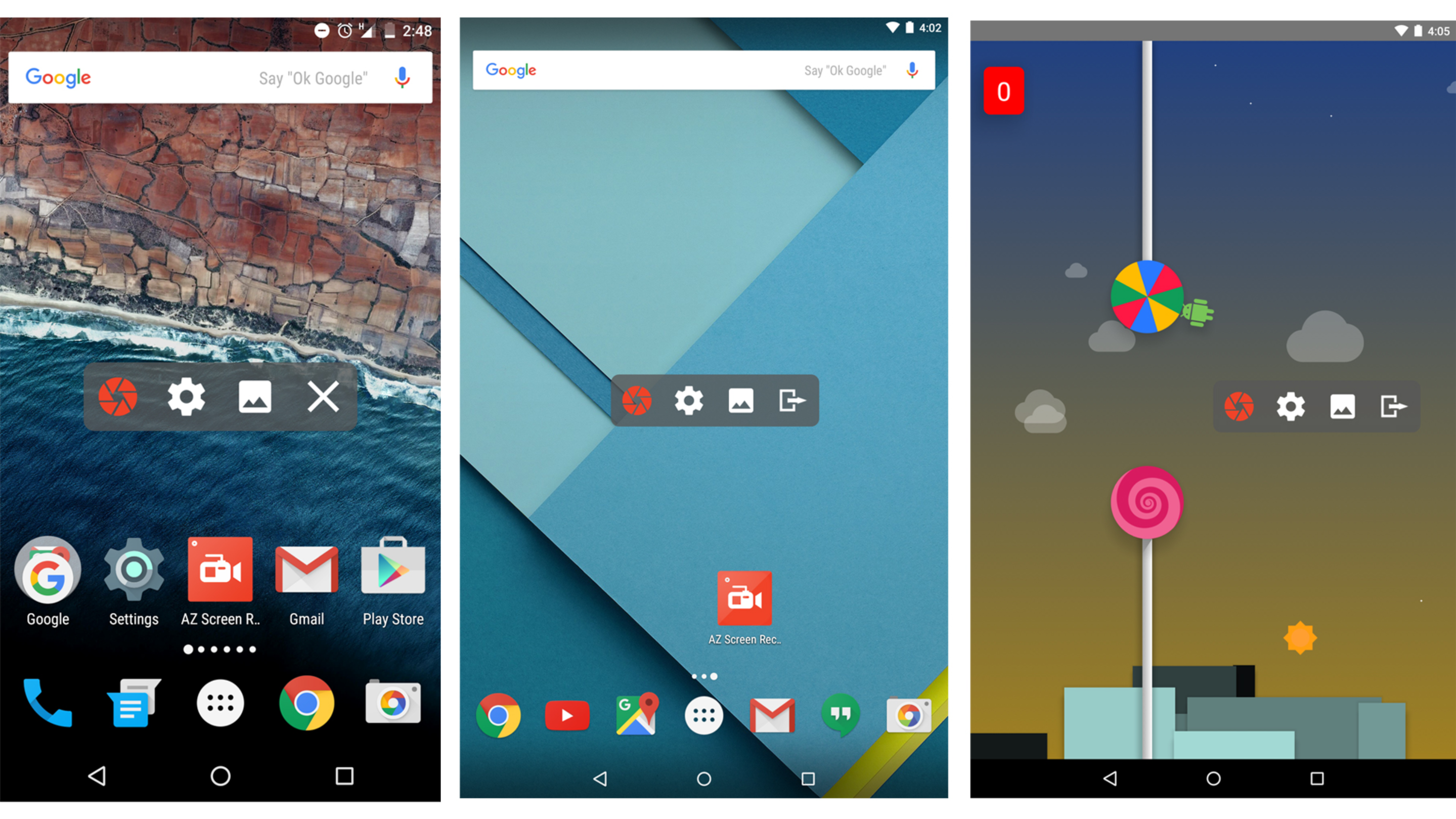 Bildschirmaufnahme mit dem AZ Screen Recorder für Android.