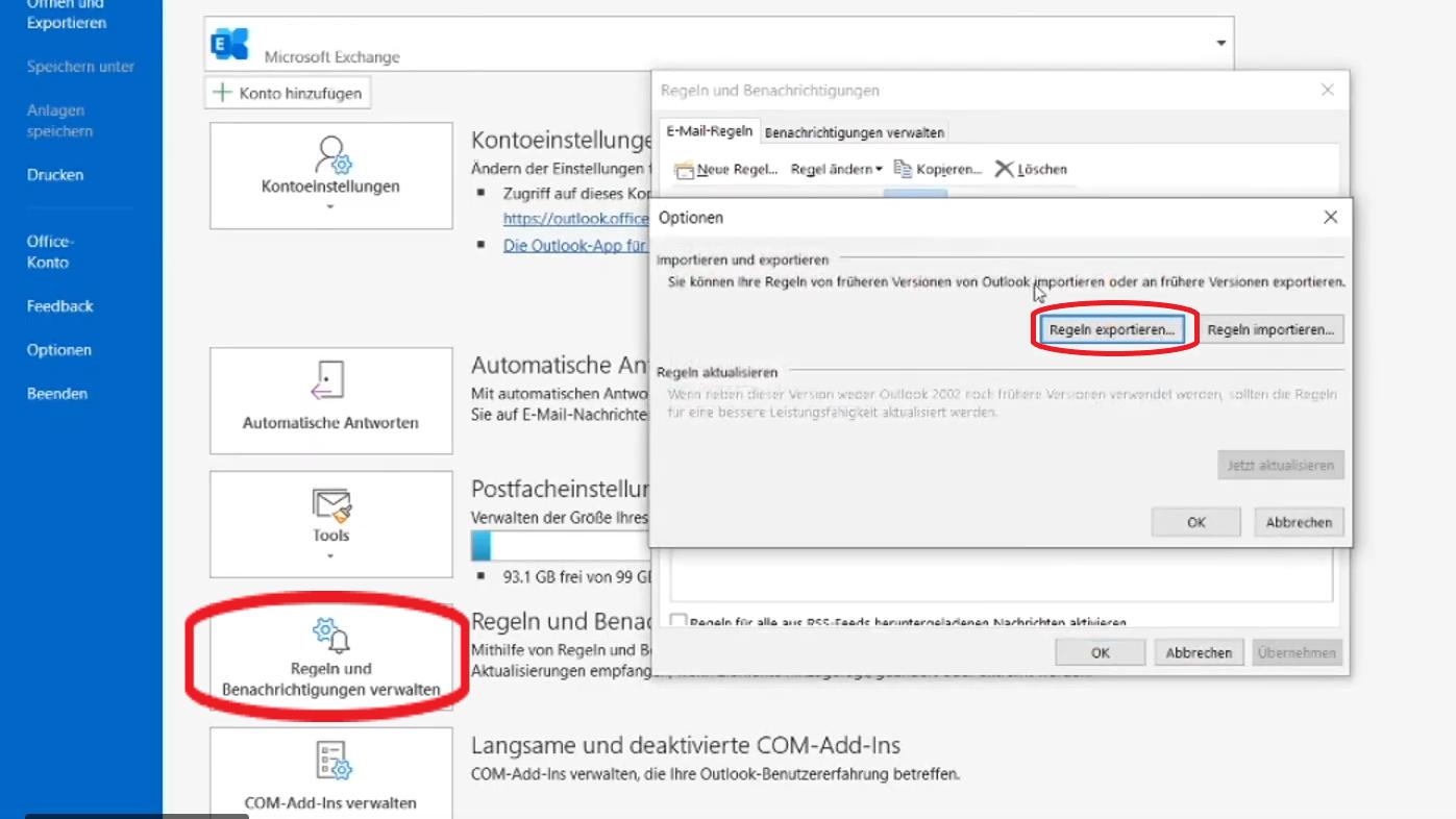 In Outlook können Sie mithilfe weniger Klicks Ihre Regeln exportieren.