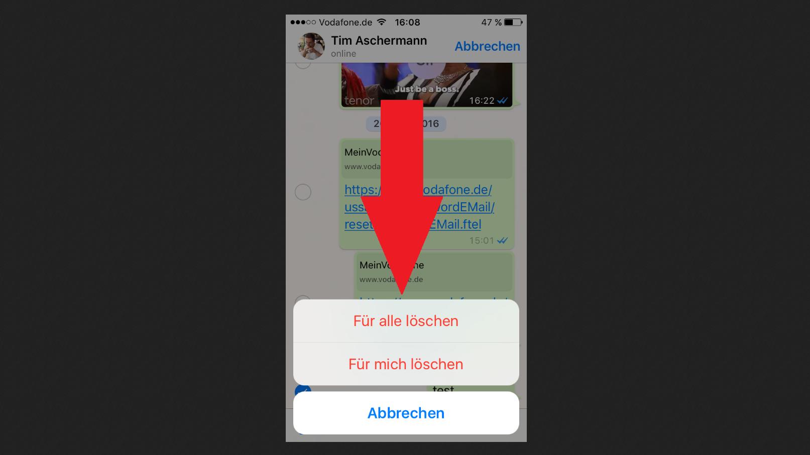 Eine WhatsApp-Nachricht lässt sich bis 60 Minuten nach Versenden löschen