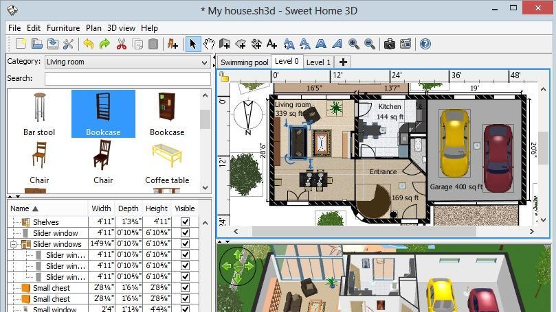Kostenlos Grundriss zeichnen mit Sweet Home 3D