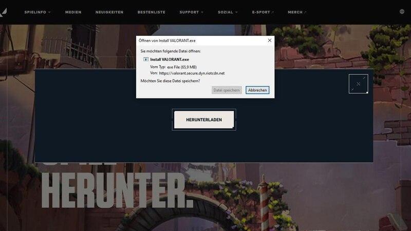 Laden Sie Valorant direkt von der Valorant-Webseite auf Ihren PC.