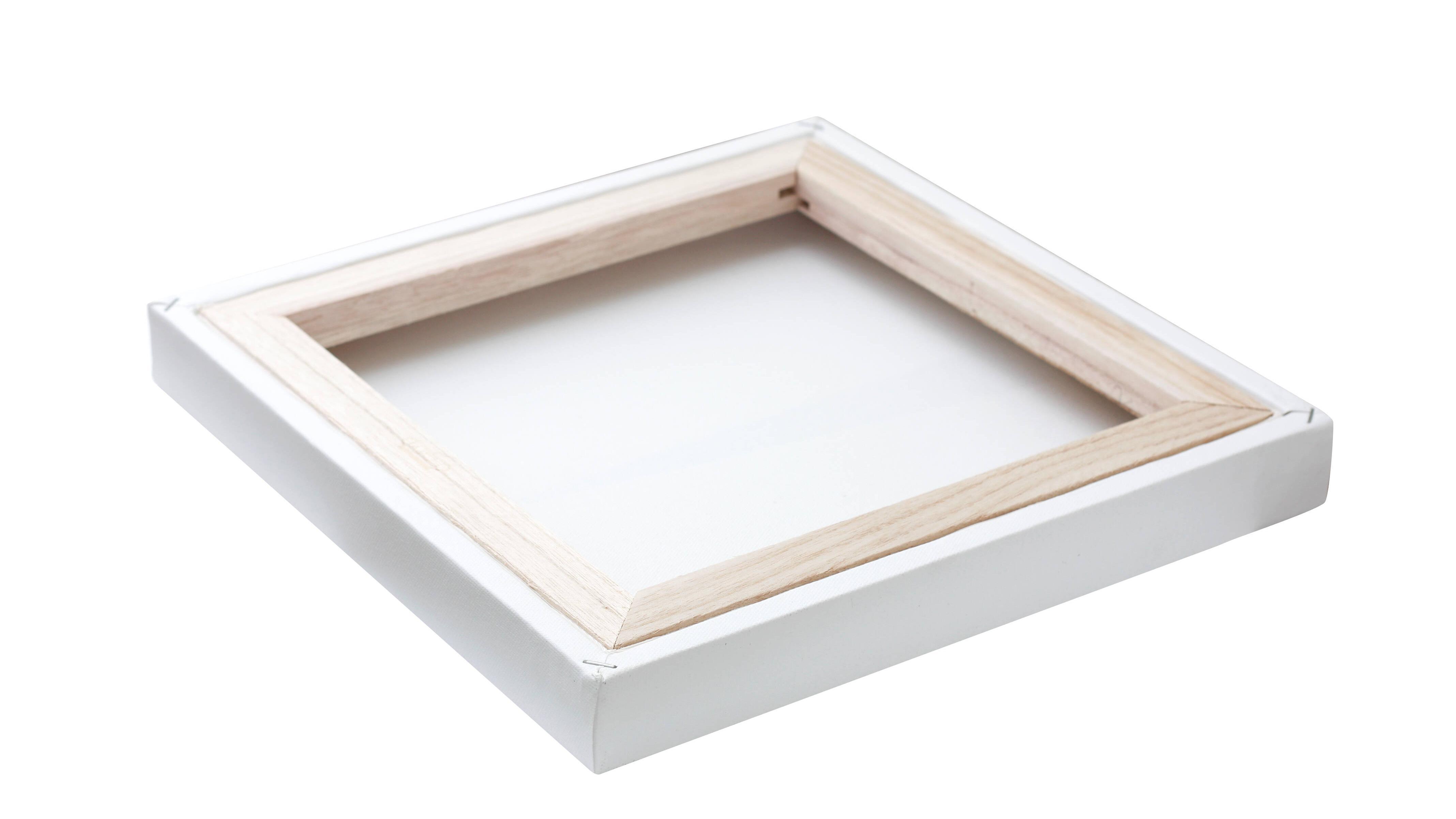 Durch das weiche Holz einer Leinwand können Sie viele Materialien verwenden, um sie aufzuhängen: Nägel, Schrauben oder Klebelaschen.