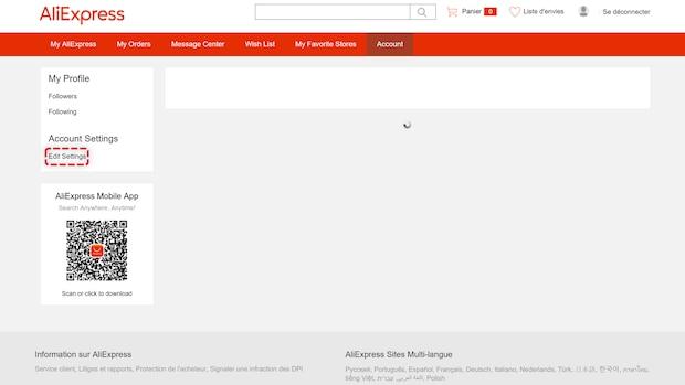 AliExpress Konto löschen - Schritt 4