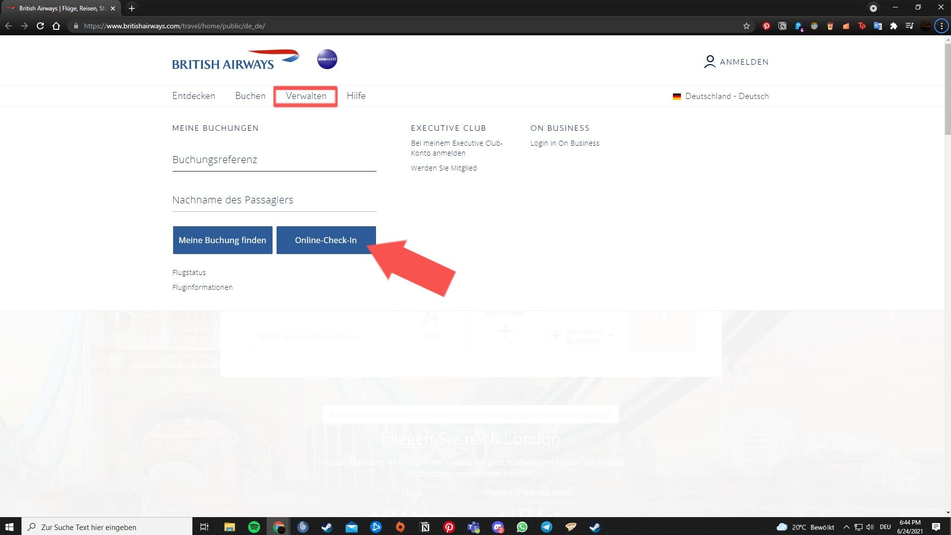 Online Check-In der British Airways
