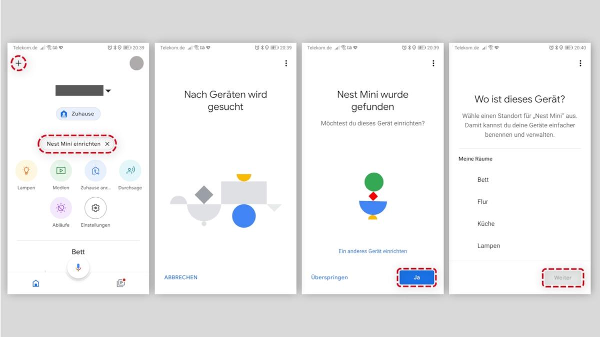 Google Nest Audio einrichten - Suche und Standort
