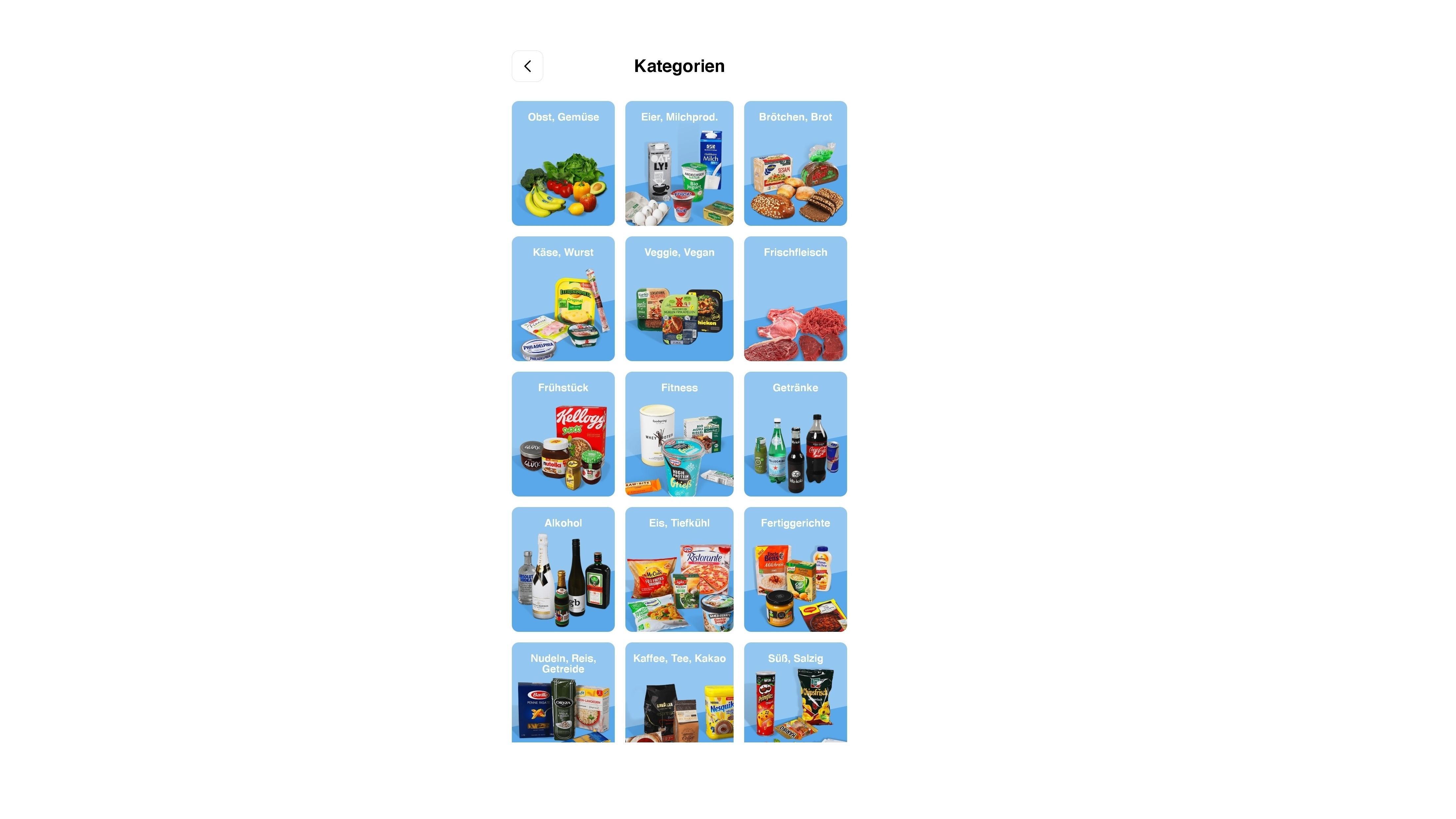 Sie können in der Flink-App aus verschiedenen Produktkategorien wählen.
