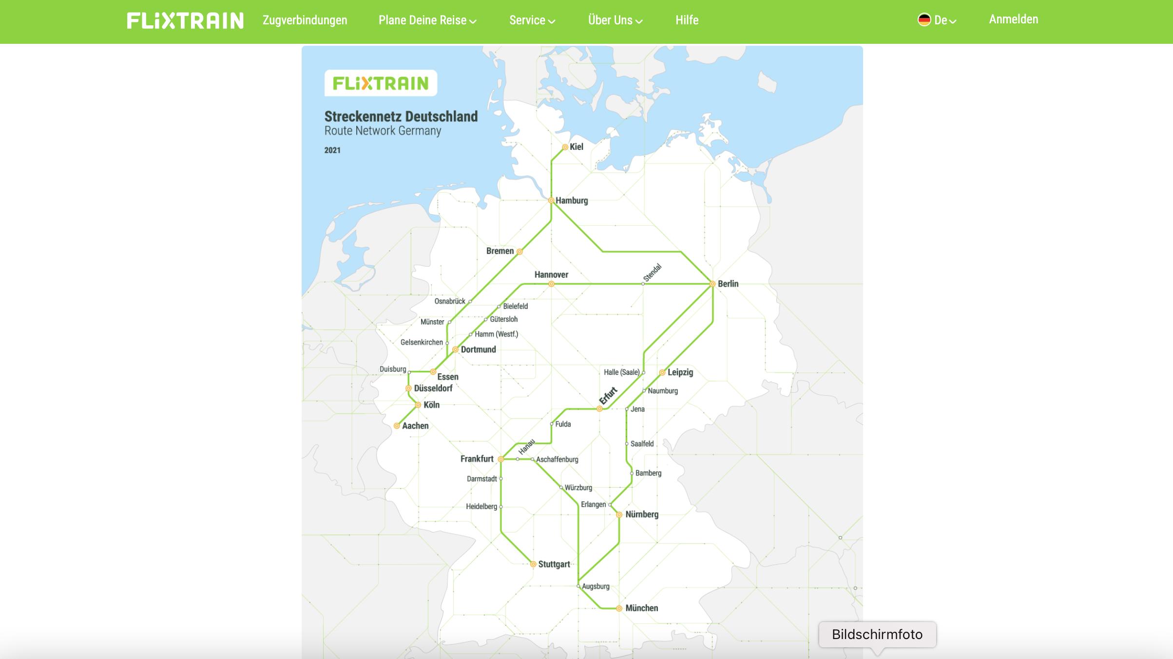 Streckennetz von Flixtrain