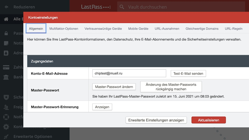 LastPass: Master-Passwort ändern