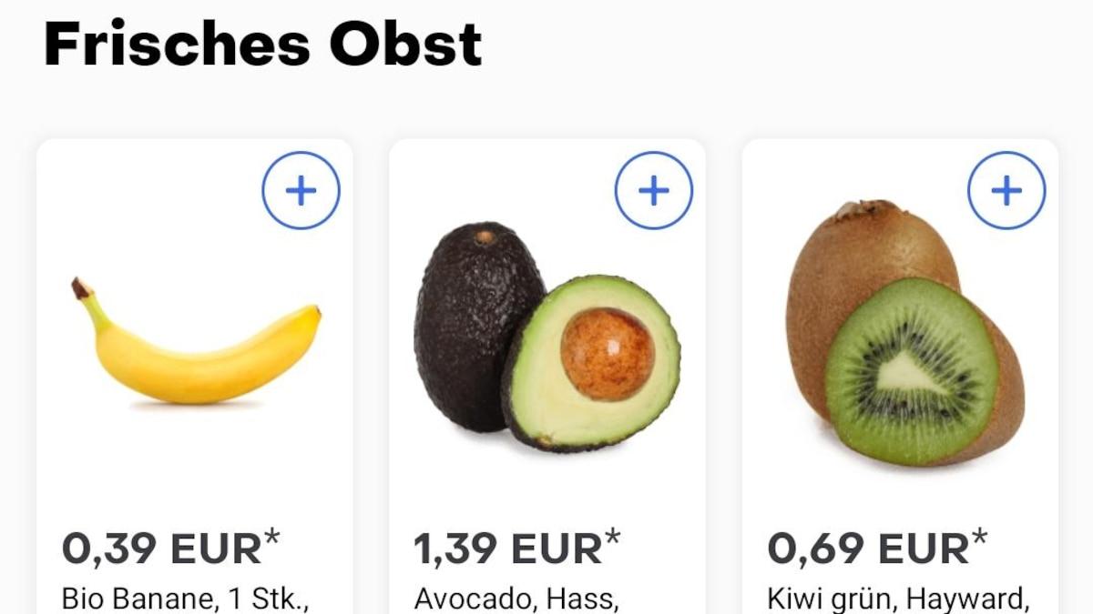 Unter anderem können Sie über Gorillas auch frisches Obst und Gemüse kaufen.