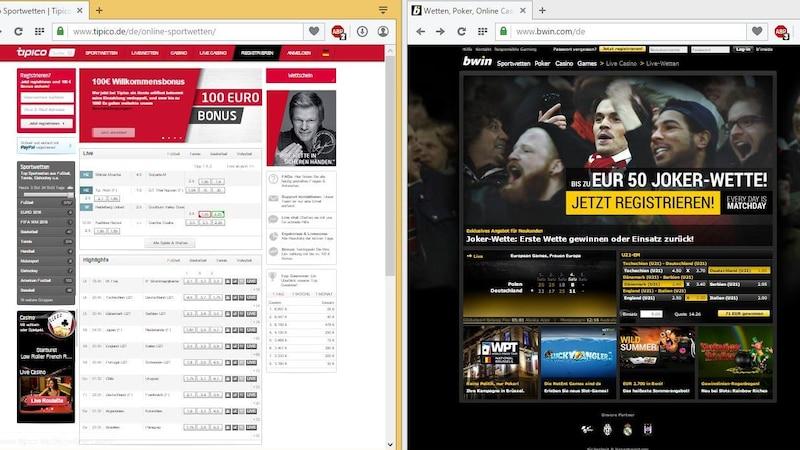 Die Webseiten von Tipico oder Bwin informieren über das Wettangebot.
